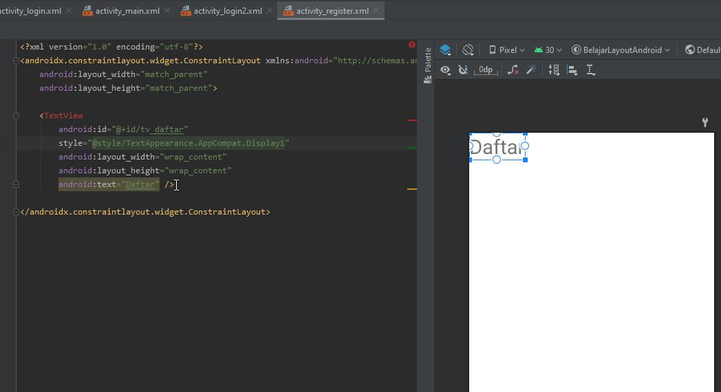 widget textview activiy register