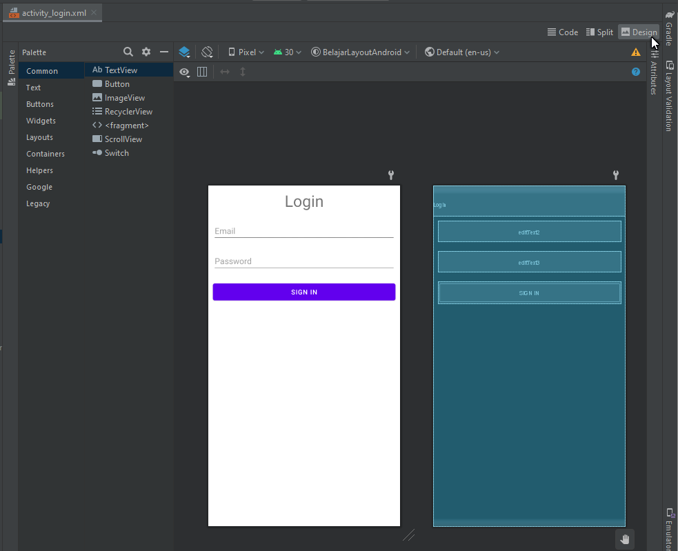 linear layout horizontal android studio