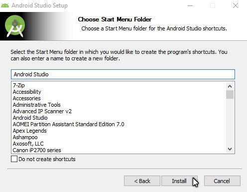 android studio start menu folder